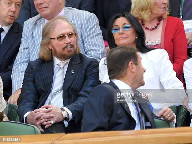 Barry Gibb and wife Linda attend day ten of the Wimbledon Tennis Championships at Wimbledon on July 07 2016 in London England