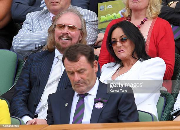 Barry Gibb and wife Linda attend day ten of the Wimbledon Tennis Championships at Wimbledon on July 07, 2016 in London, England.