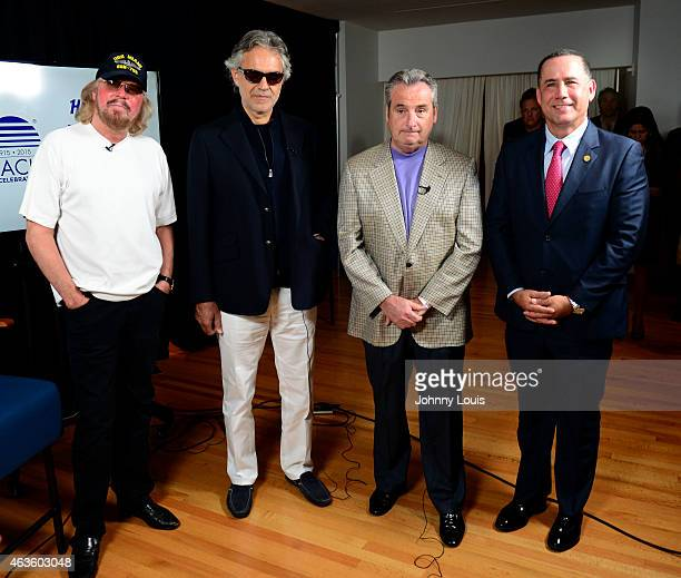 Barry Gibb Andrea Bocelli James Allen and Philip Levine attend as Miami Beach announces the headline performers for Mega Centennial Concert...