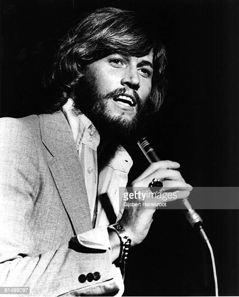 Barry Gibb from The Bee Gees performs live on stage in Amsterdam in 1975