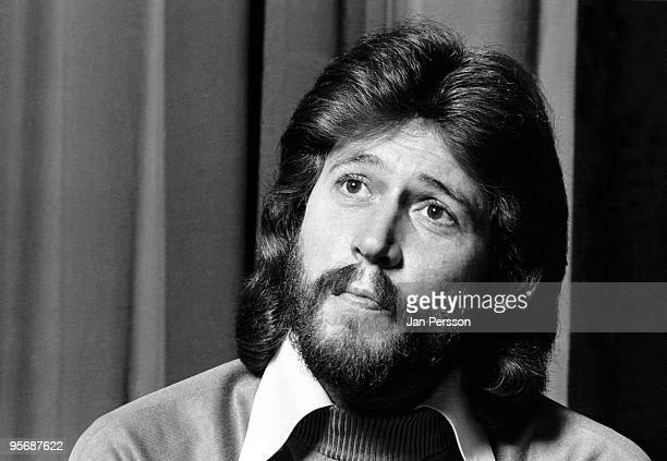 Barry Gibb from The Bee Gees posed at a Press Conference in Copenhagen Denmark in 1975