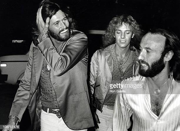 Barry Gibb Maurice Gibb and Peter Frampton during Sgt Pepper Lonely Hearts Club Band filming and wrap up party at ABC Entertainment Center in Los...