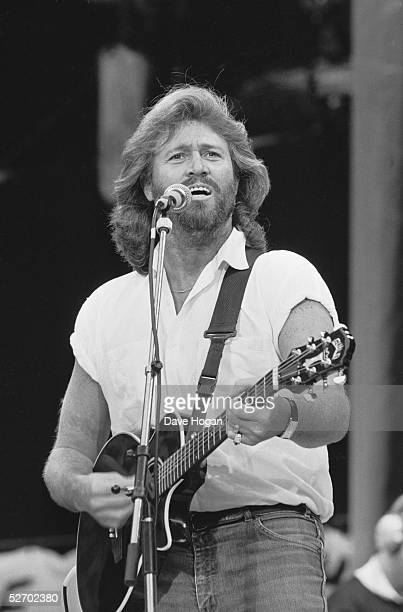 Barry Gibb of the Bee Gees performing at the 70th birthday tribute concert for imprisoned South African leader Nelson Mandela held at Wembley Stadium...