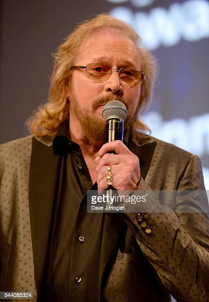 Barry Gibb on stage during the Nordoff Robbins O2 Silver Clef Awards on July 1 2016 in London United Kingdom
