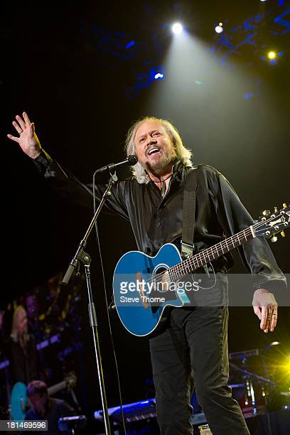 Barry Gibb performs on stage at LG Arena on September 21 2013 in Birmingham England