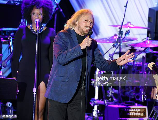 Barry Gibb performs onstage during The Grammy Awards PreGrammy Gala held at The Beverly Hilton Hotel on February 7 2015 in Beverly Hills California