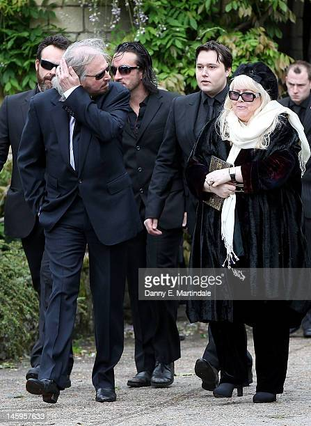 Barry Gibb , Robin's son Robin-John Gibb and Robin's widow Dwina Murphy Gibb and other members of the Gibb family arrive for Robin Gibb's funeral at...