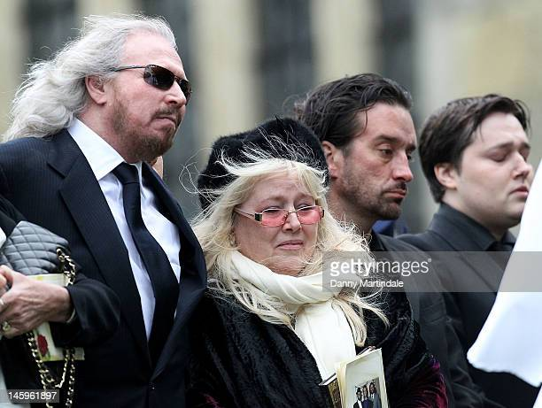 Barry Gibb , Robin's widow Dwina Murphy Gibbson , Robin-John Gibb and other members of the Gibb family attend the funeral of Robin Gibb held at St....