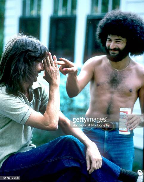 Barry Goudreau and Sib Hashian of the band BOSTON doing their Three Stooges schtick in May 1978 in Wayland Massachusetts