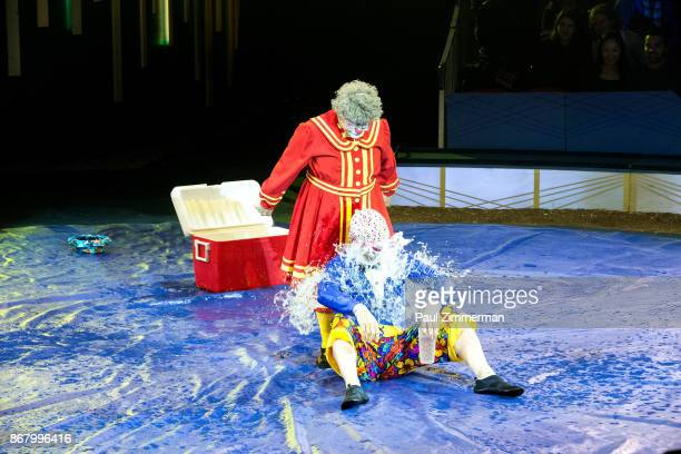 Barry 'Grandma' Lubin and Joel Jeske perform at the Big Apple Circus 40th Anniversary Opening Night at Damrosch Park Lincoln Center on October 29...