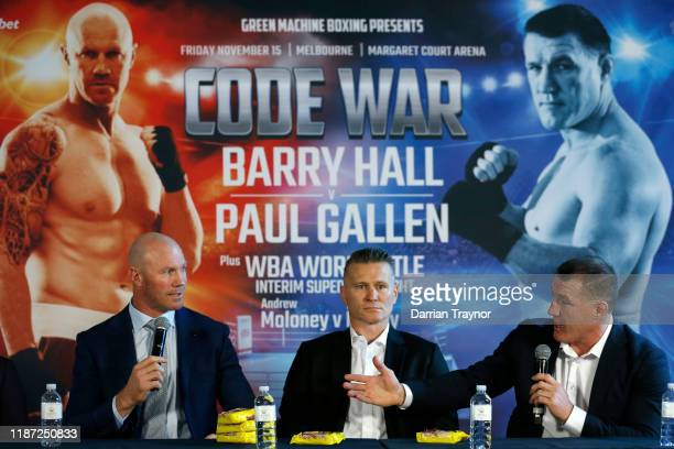 Barry Hall , Danny Green and Paul Gallen speak to the media during the Barry Hall v Paul Gallen press conference at the Crown Promenade on November...
