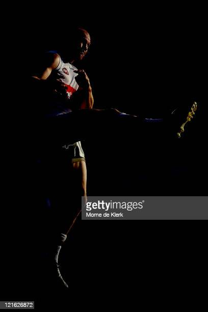 Barry Hall of the Bulldogs kicks a goal during the round 22 AFL match between the Port Adelaide Power and the Western Bulldogs at AAMI Stadium on...