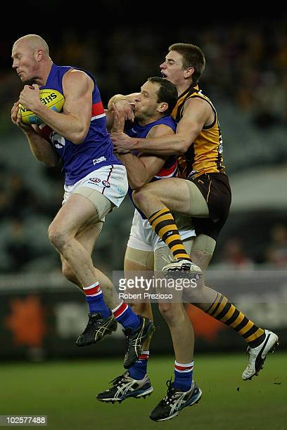 Barry Hall of the Bulldogs marks the ball during the round 14 AFL match between the Hawthorn Hawks and the Western Bulldogs at Melbourne Cricket...