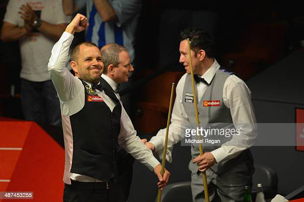 Barry Hawkins celebrates after beating Dominic Dale their quarter final match at the Crucible Theatre on April 30 2014 in Sheffield England