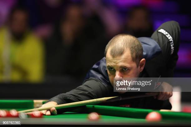 Barry Hawkins of England in action during his first round match against Kyren Wilson of England on day three of The Dafabet Masters at Alexandra...