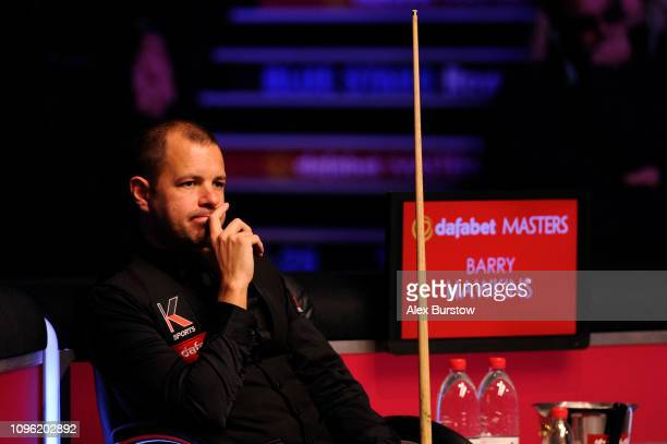 Barry Hawkins of England looks on during his quarterfinal match against Neil Robertson of Australia on day six of the 2019 Dafabet Masters at...