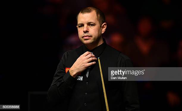 Barry Hawkins of England looks on during the Final match against Ronnie O'Sullivan of England during Day Eight of The Dafabet Masters at Alexandra...
