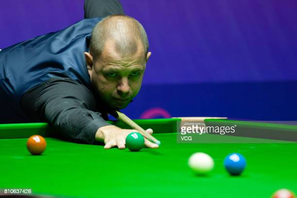 Barry Hawkins of England plays a shot during the group match between England and Australia on day five of 2017 Snooker World Cup at Wuxi City Sports...