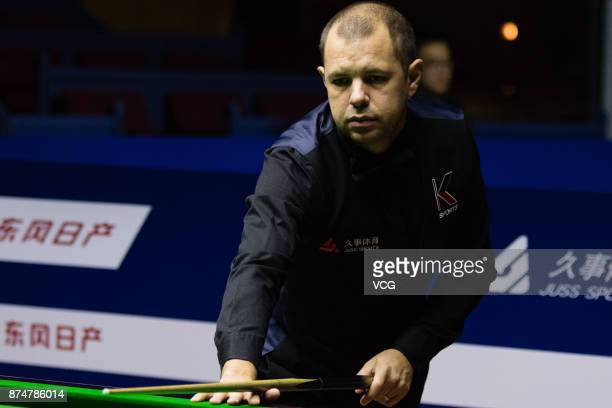 Barry Hawkins of England reacts during the eighthfinal match against Ronnie O'Sullivan of England on day four of 2017 Shanghai Masters at Shanghai...