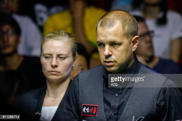 Barry Hawkins of England reacts during the final match between China A and England on day 7 of 2017 Snooker World Cup at Wuxi City Sports Park...