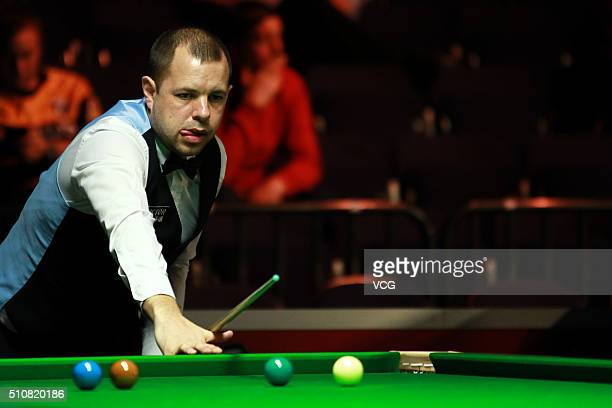 Barry Hawkins of England reacts in the third round match against Mark Davis of England on day three of BetVictor Welsh Open 2016 at Motorpoint Arena...