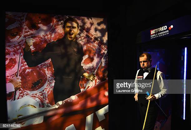 Barry Hawkins of England walks out for his second round match against Ronnie O'Sullivan of England on day ten of the World Snooker Championship at...