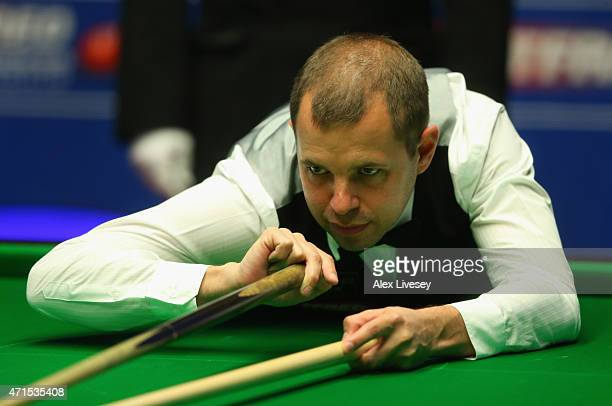 Barry Hawkins plays a shot against Neil Robertson during day twelve of the 2015 Betfred World Snooker Championship at Crucible Theatre on April 29...