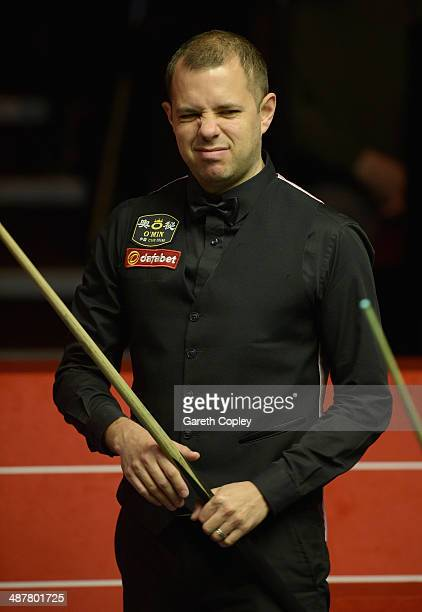 Barry Hawkins reacts during his semi final against Ronnie O'Sullivan in The Dafabet World Snooker Championship at Crucible Theatre on May 2 2014 in...