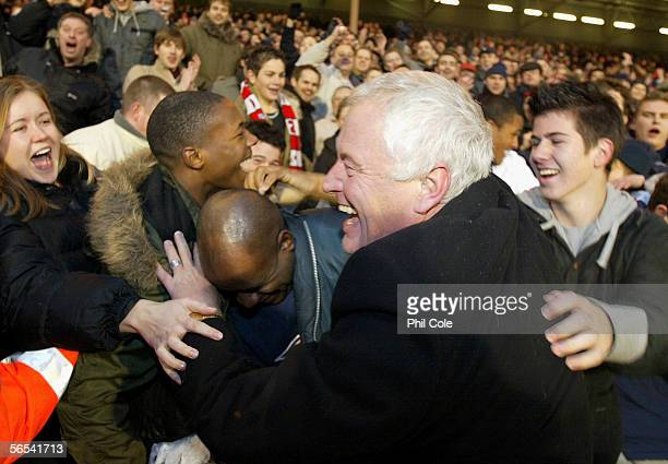 Barry Hearn chairman of Leyton Orient celebrates victory with fans following the FA Cup Third Round match between Fulham and Leyton Orient at Craven...