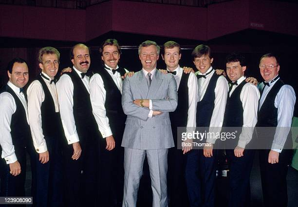 Barry Hearn of England with his Matchroom Sport Team snooker players in London circa 1988 Left to right Tony Meo of England Terry Griffiths of Wales...