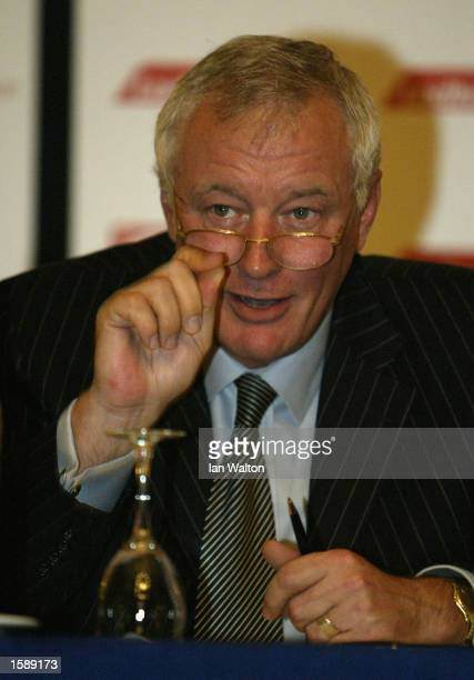 Barry Hearn talks to the Media during the Professional Darts Corporation Press launch to announce that bookmaker Ladbrokes is to sponsor the 2003...