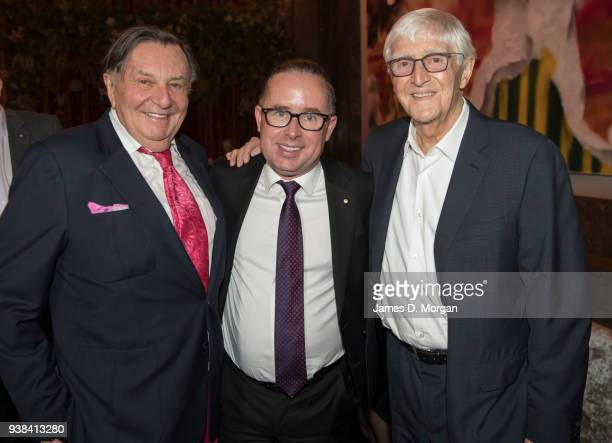 Barry Humphries Alan Joyce Qantas Group CEO and Michael Parkinson as they arrive at Australia House for a celebration party for Qantas on March 26...