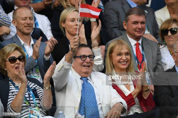 Barry Humphries and his wife Lizzie Spender attend the men's singles final between Novak Djokovic of Serbia and Dominic Thiem of Austria at the 2020...