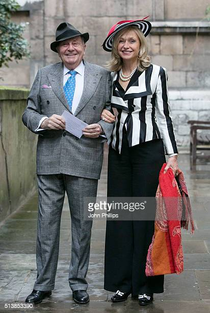 Barry Humphries and Lizzie Spender arrive for the wedding of Jerry Hall and Rupert Murdoch at St Brides Church on March 5, 2016 in London, England.