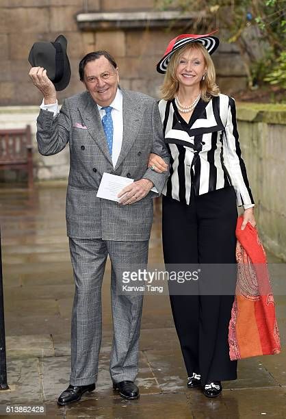 Barry Humphries and Lizzie Spender arrive for the wedding of Jerry Hall to Rupert Murdoch at St Brides Church on March 5 2016 in London England