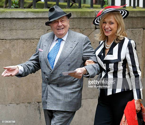 Barry Humphries and Lizzie Spender attend a service to celebrate Rupert Murdoch's marriage to Jerry Hall at St Bride's Church on March 5, 2016 in...