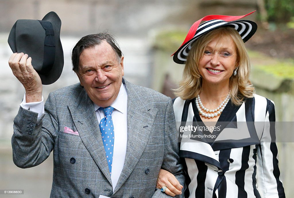 Barry Humphries and Lizzie Spender attend a service to celebrate Rupert Murdoch's marriage to Jerry Hall at St Bride's Church on March 5, 2016 in London, England.
