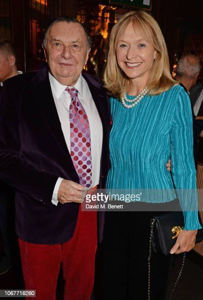 Barry Humphries and Lizzie Spender attend the annual 'One Night Only At The Ivy' in aid of Acting For Others on December 2, 2018 in London, England.
