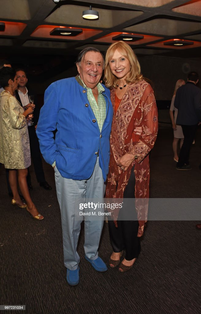 Barry Humphries (L) and Lizzie Spender attend the press night performance of 'Barry Humphries' Weimar Cabaret' at The Barbican Centre on July 12, 2018 in London, England.
