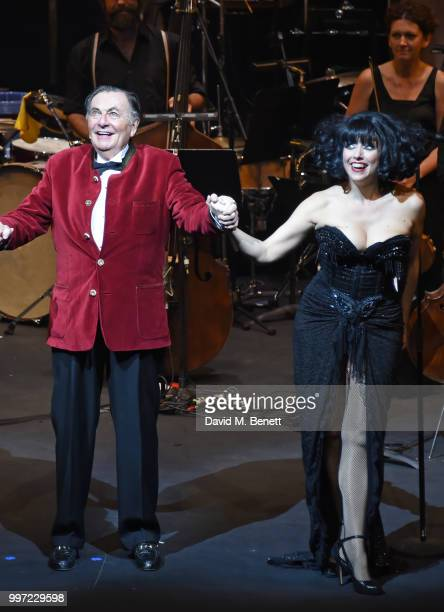 Barry Humphries and Meow Meow bow during the press night performance of 'Barry Humphries' Weimar Cabaret' at The Barbican Centre on July 12 2018 in...