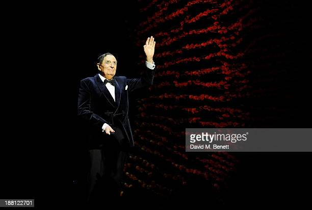 Barry Humphries bows at the curtain call during the press night performance of 'Barry Humphries' Eat Pray Laugh' at the London Palladium on November...