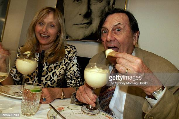 Barry Humphries with his wife Lizzie Spender at Machiavelli restaurant eating an old faveourite zabbaglione, 2 December 2002. SMH Picture by STEVEN...