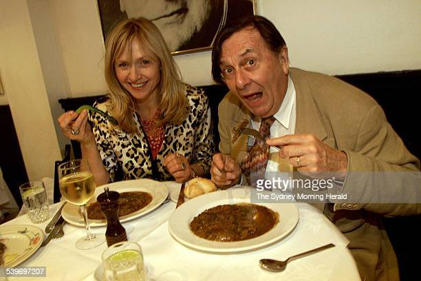 Barry Humphries with his wife Lizzie Spender at Machiavelli restaurant eating an old faveourite steak diane, 2 December 2002. SMH Picture by STEVEN...
