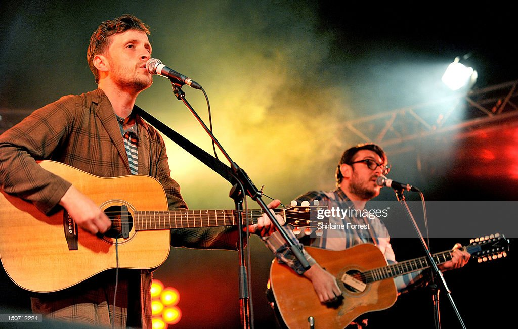 Barry Hyde and Ross Millard of The Futureheads perform at Bramham Park on August 24, 2012 in Leeds, England.
