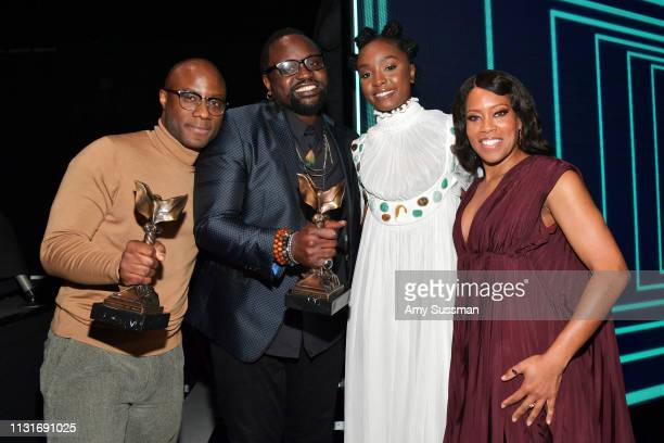 Barry Jenkins Brian Tyree Henry Kiki Layne and Regina Hall winners of the Best Feature award for 'If Beale Street Could Talk' pose during the 2019...