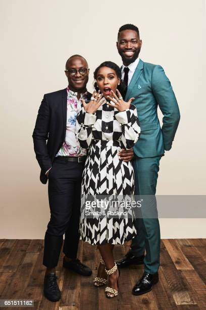 Barry Jenkins Janelle Monae and Tarell Alvin McCraney pose for portrait session at the 2017 Film Independent Spirit Awards on February 25 2017 in...