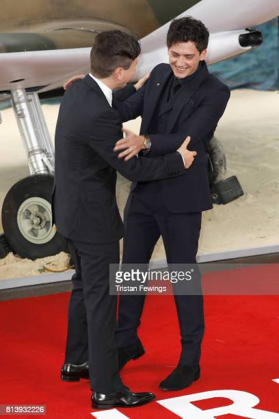 Barry Keoghan and Aneurin Barnard arrive at the 'Dunkirk' World Premiere at Odeon Leicester Square on July 13 2017 in London England
