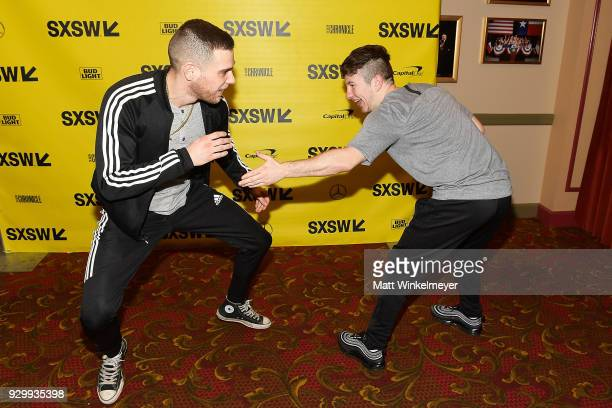 Barry Keoghan and Jared Abrahmson attend the 'American Animals' Premiere 2018 SXSW Conference and Festivals on March 9 2018 in Austin Texas