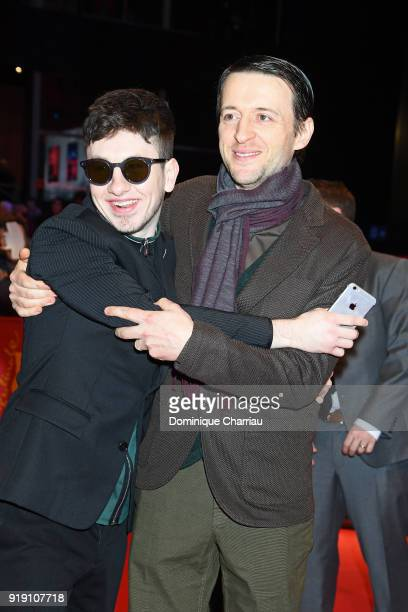 Barry Keoghan and Lance Daly attend the 'Black 47' premiere during the 68th Berlinale International Film Festival Berlin at Berlinale Palast on...