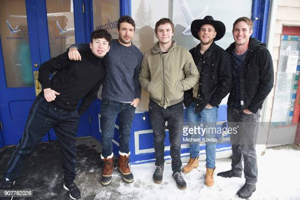 Barry Keoghan Bart Layton Evan Peters Jared Abrahamson and Blake Jenner of the film 'American Animals' attend as Grey Goose Blue Door hosts the casts...